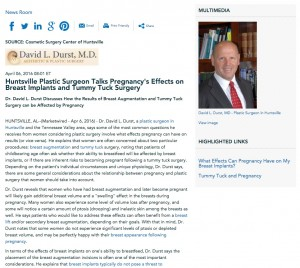 Dr. David L. Durst talks about the effects of pregnancy on plastic surgery results.